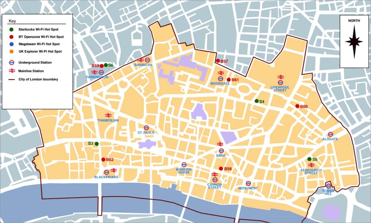 Карта лондонского Сити