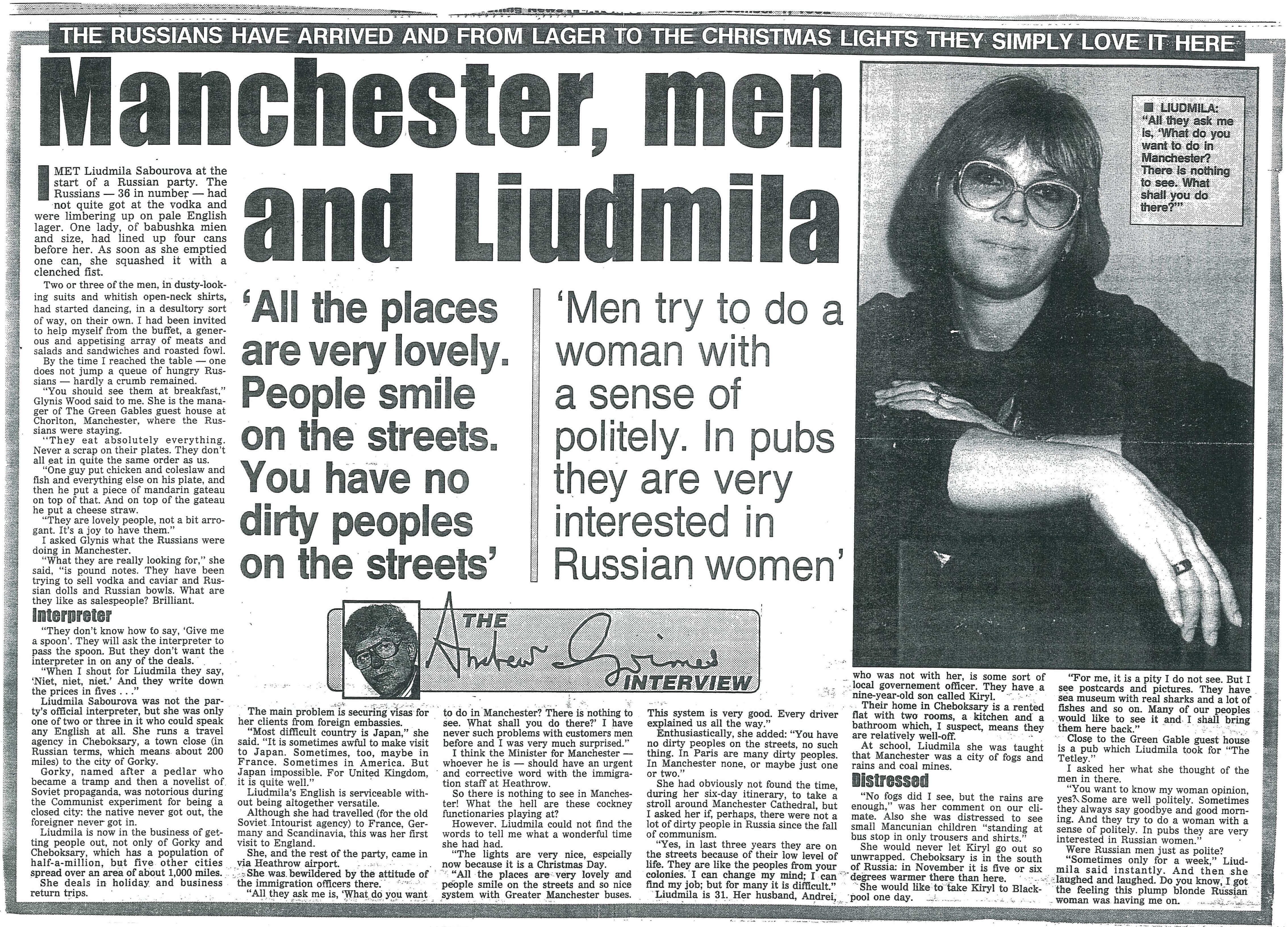 A newspaper article about Liudmila Saburova, guide in England